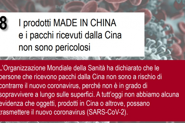 8: I prodotti MADE IN CHINA ed i pacchi ricevuti dalla Cina non sono pericolosi