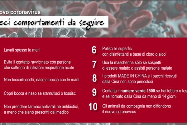 Coronavirus: dieci comportamenti da seguire